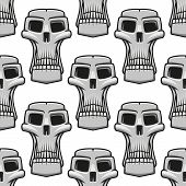 Seamless pattern of spooky Halloween skulls
