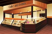 stock photo of donut  - A vector illustration of cake and donuts section in grocery store - JPG