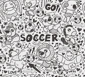 seamless animal soccer player pattern