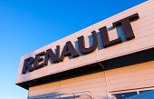 Samara, Russia - November 24, 2013: The Emblem Renault On The Office Of Official Dealer. Renault Is
