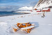 Picnic Table On The Beach, Winter Norway Scenery