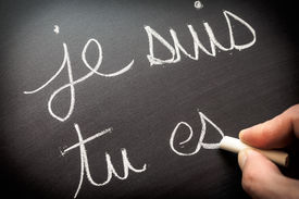 picture of verbs  - Conjugating verbs in French on class blackboard - JPG