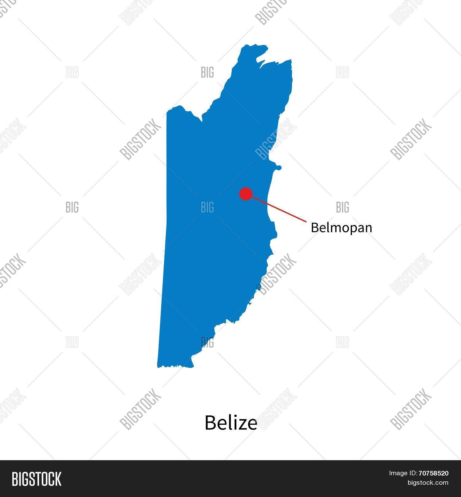 Detailed Vector Map Belize Capital Vector Photo Bigstock - Belize map belmopan