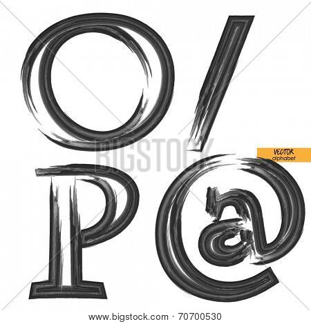 art sketched set of vector grunge character classic black fonts, uppercase symbols, letters O, P and slash, at marks