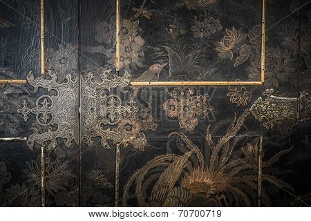 Old wooden furniture door
