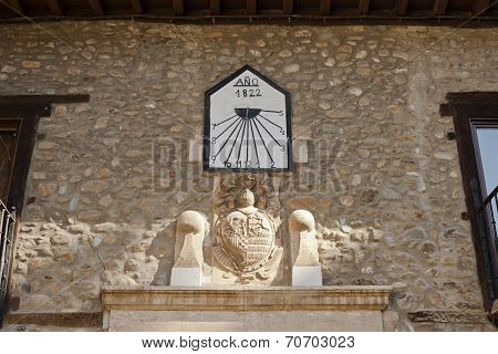 Sundial And Coat Of Arms In Villafranca Del Bierzo.