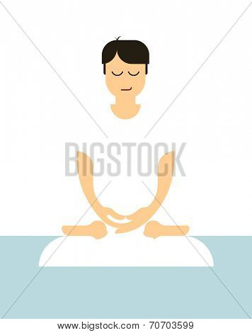 Minimalist flat illustration of a man meditating.
