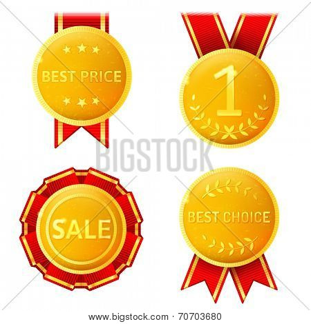 4 golden medals over white background