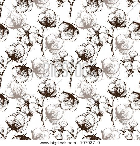 Hand drawn cotton seamless pattern