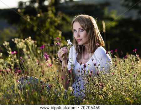 Woman In Blooming Meadow
