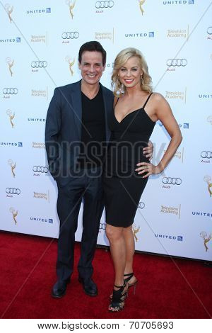 LOS ANGELES - AUG 23:  Christian LeBlanc, Jessica Collins at the Television Academy's Perfomers Nominee Reception at Pacific Design Center on August 23, 2014 in West Hollywood, CA