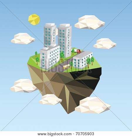 Ecology Concept Vector Illustration in polygon style. City Environment.