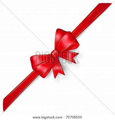 Red Bow With Gold Strips