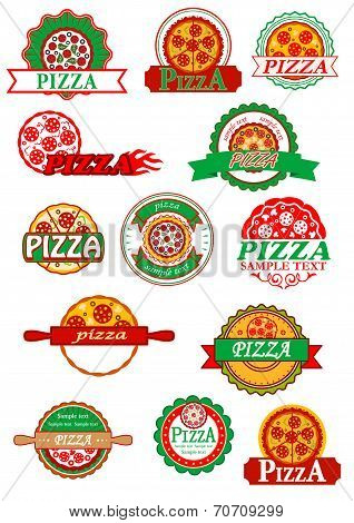 Italian pizza, banners, emblems and labels set