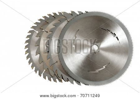 Circular saw blades isolated on a white background