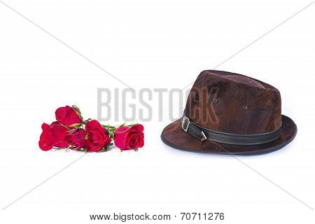 Leather Hat With Roses