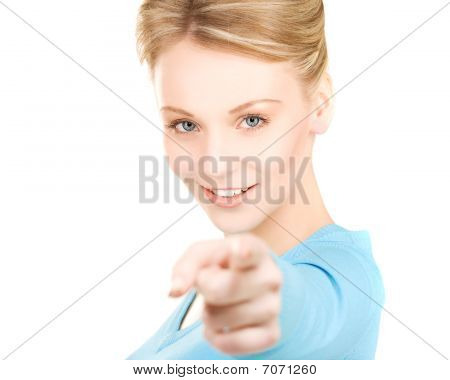 Woman Pointing Her Finger