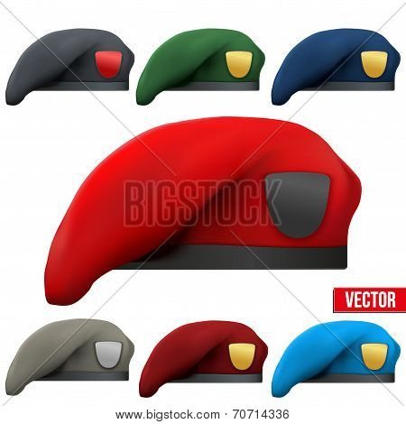 Set of Military colorful Berets Army Special Forces