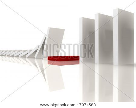 White dominoes stopping at the red - 3d image