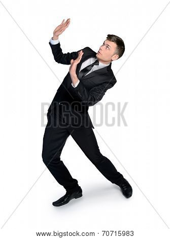 isolated business man with hands up