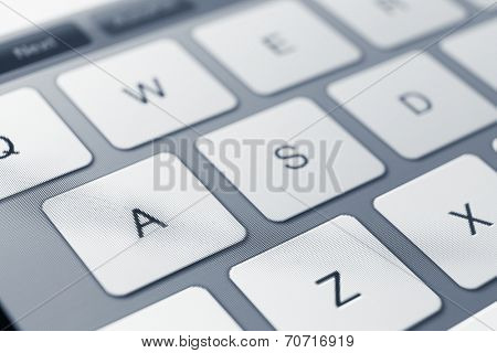 Close up of keys of pc keyboard. Concept of technology and peripheral devices