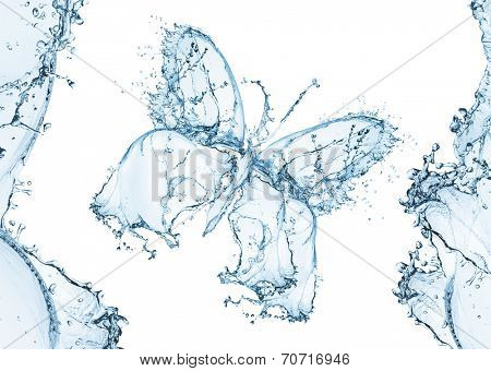 Water splash in the form of a butterfly, isolated on white