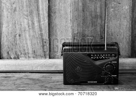 Black And White Old Transistor Radio