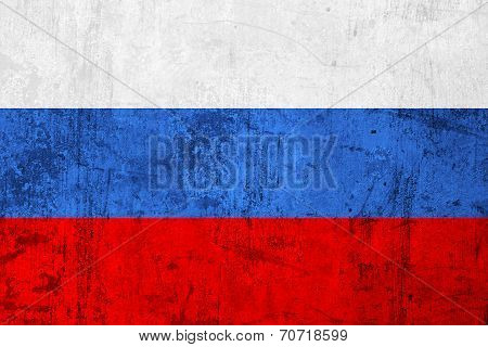 Grunge Dirty And Weathered Russian Flag