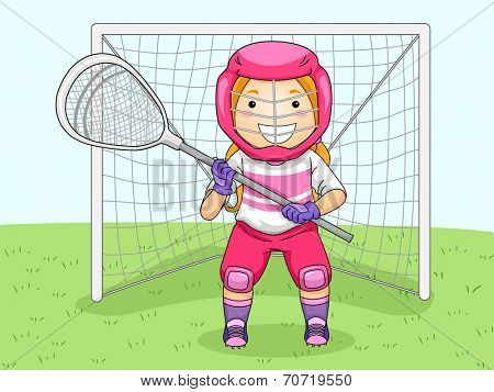 Illustration of a Girl in Lacrosse Gear Assuming a Goalie's Position