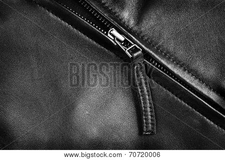Deep textured leather jacket with silver zipper
