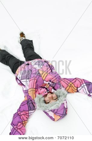 Girl Making Snow Angel
