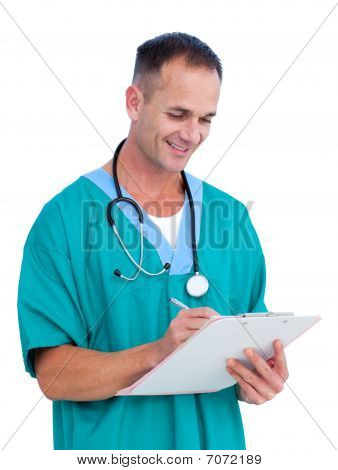 Portrait A Handsome Male Doctor Writing Notes