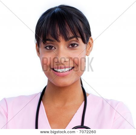 Portrait Of An Charming Female Doctor Holding A Stethoscope