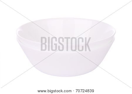 Double round ceramic bowls stack on white background.