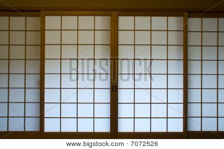 A Traditional Japanese Paper Screen Window (shoji)