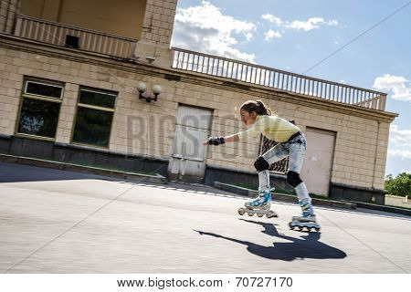 Beautiful Teenage Girl Rollerskating