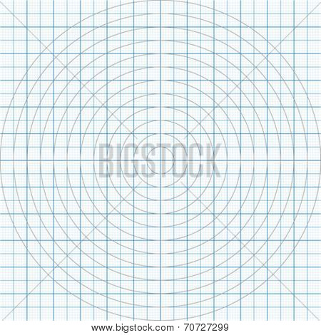 Vector illustration of a millimeter paper with circles two