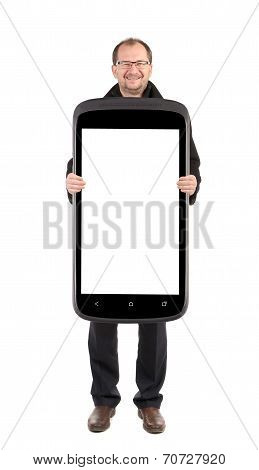 Business man holding cellphone. Collage.