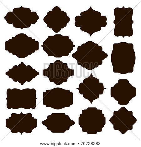 Set of black silhouette frames for badges