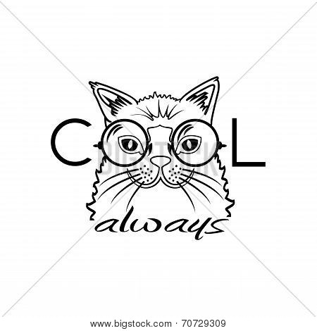 Vector Fashion Portrait of Hipster Cat in Big Glasses