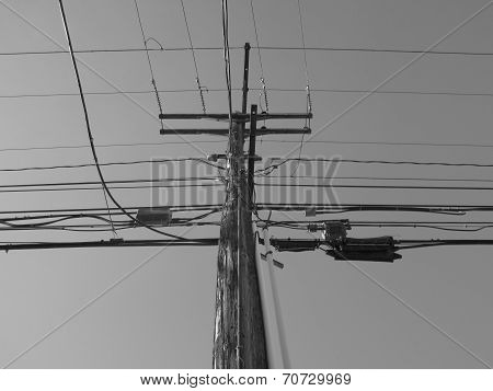 Black and White Utility Pole and Wires