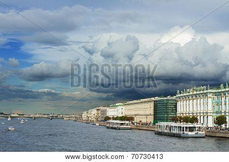 View Of The Neva River Embankment .