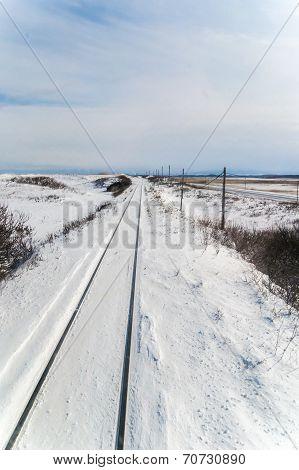 Winter scene of Senmo Line in Shiretoko, Hokkaido Japan
