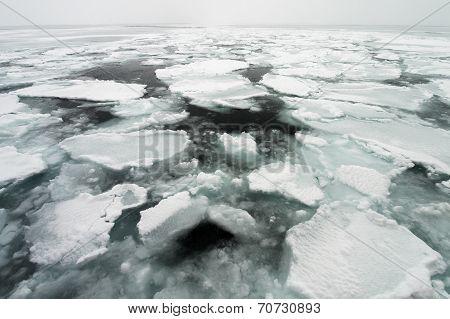 Drift Ice of Okhotsk Sea in Hokkaido, Japan