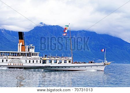 Cruise Boat La Suisse On Lake Geneva
