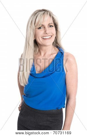 Portrait Of Isolated Attractive Smiling Mature Woman Over White.
