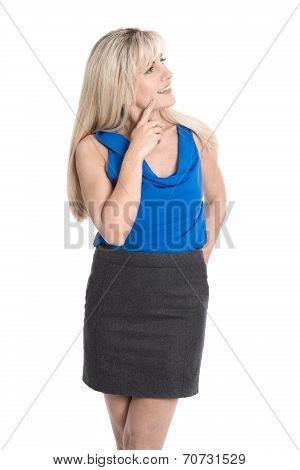 Beautiful Isolated Attraktive Businesswoman Looking Sideways.