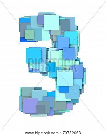 3D Multiple Blue Tiled Number Three 3 Fragmented On White