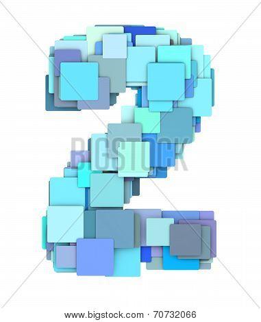 3D Multiple Blue Tiled Number Two 2 Fragmented On White