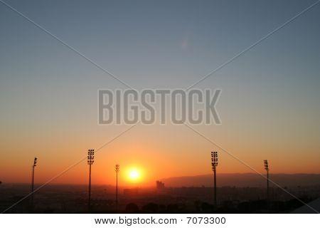Sunset Over Barcelona Soccer Stadium